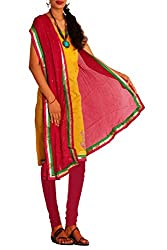 Unnati Silks Women yellow-pink chanderi silk salwar kameez dress material