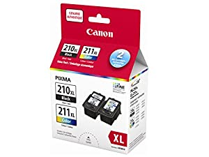 Genuine Canon PG-210XL/CL211XL HIGH Yield Ink Cartridge Value Pack, Black and Tri-Colour