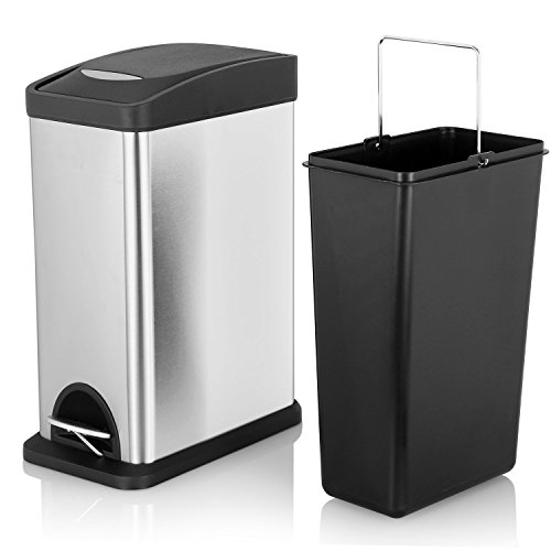 Fortune Candy Slim Rectangular Kitchen Trash Can,Stainless Steel Brushed Finish,Dent-Proof Plastic Lid,Removable Inner Bucket,2.1 Gallon/8 Liter (Stainless Steel Slim Trash Can compare prices)