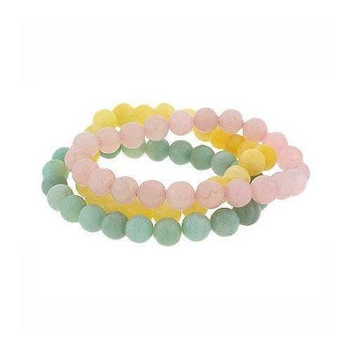 Genuine Aragonite, Rose Quartz, Amazonite Stone 8mm Bead Stretch Bracelet Set
