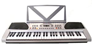 54 Keys Keyboard Student Electronic Digital Piano - With notes Holder - with AC Adapter & DirectlyCheap(TM) Translucent Blue Medium Pick (54KB)