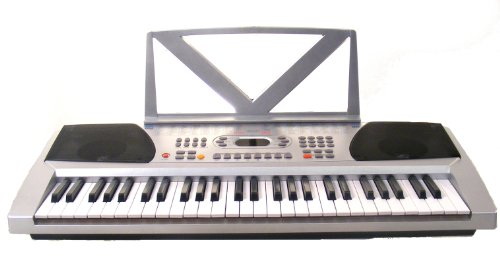 54 Keys Keyboard Student Electronic Digital Piano – With notes Holder – Silver – with AC Adapter & DirectlyCheap(TM) Translucent Blue Medium Pick