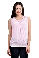 Femninora Light Pink Color Casual Top With Shoulder Net
