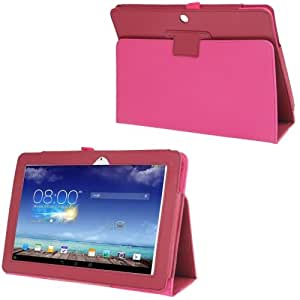 Litchi Texture Leather Case with Holder for ASUS MeMO Pad 10 / ME102A / ME102 (Magenta)