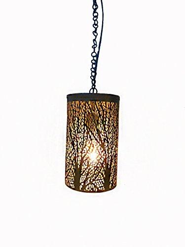 Handicraftscart Iron Tree Shade Ceiling Lantern Hanging (8 x4 inchs, 20 wattage,Gold, black)