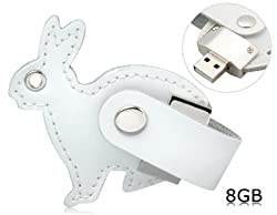 Leather Rabbit Key Chain 8GB USB Flash Drive (White)
