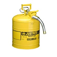 Justrite AccuFlow 7250230 Type II Galvanized Steel Safety Can with 1&#034; Flexible Spout, 5 Gallons Capacity, Yellow