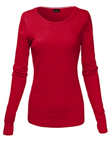 Basic Crew Neck Long Sleeve Soft Sweater Knit Tops