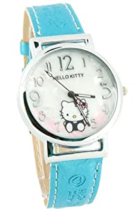 Hot Cute HelloKitty Crystal Quartz Leather girl lady quartz watch Wristwatch NEW Blue
