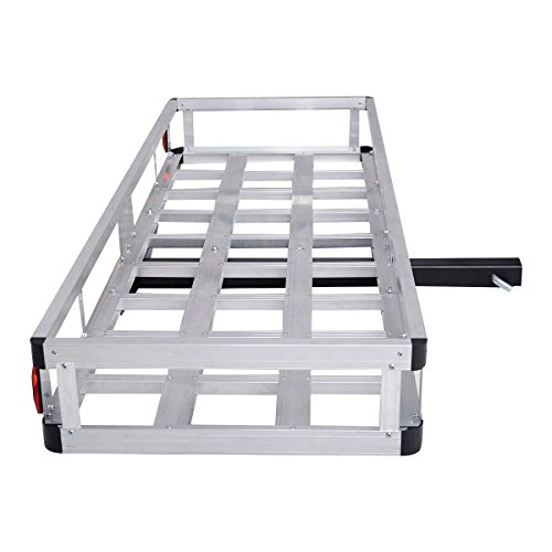 "Goplus® 60"" x 22"" Aluminum RV 2"" Hitch Mount Cargo Carrier Truck Luggage Basket 500LBS"