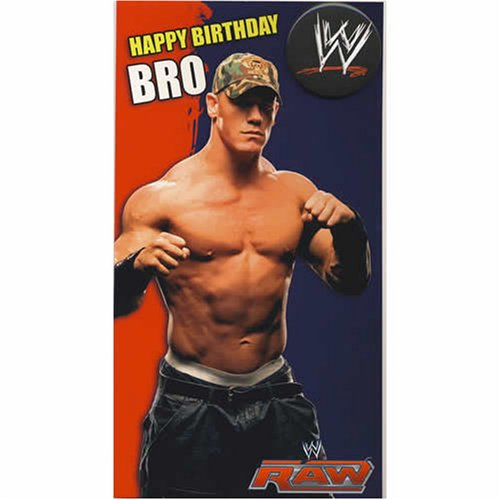 WWE Wrestling - Brother Birthday Card With Badge
