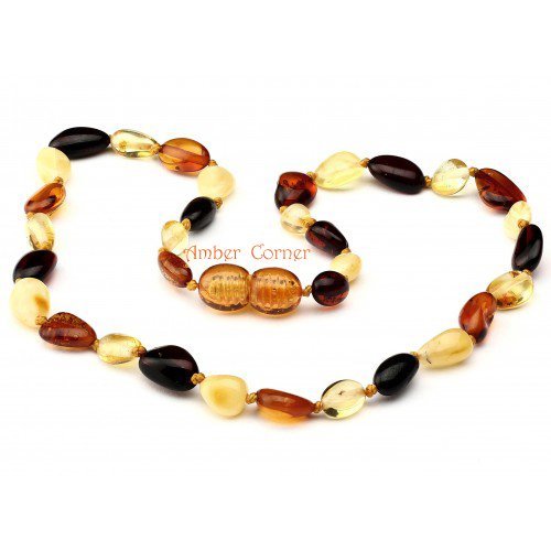 Amber Teething Necklace for Babies Oval and Multicolour Natural Pain Relief Anti-inflammatory, Knotted Twist Closure Drooling and Teething Pain Reducing Properties Mothers Approved Remedies with Certificate