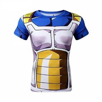 Anime Dragon Ball Z Vegeta Slim T Shirt Short Sleeve Cosplay Shirt Adult (US size M = Asia size L)
