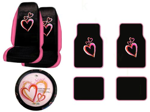 A Set of 4 Universal Fit Optic Art Multicolor Hearts Plush Carpet Floor Mats and 1 Comfort Grip Steering Wheel Cover and A Set of 2 Universal Fit Seat Covers (Purple Fairy Seat Covers compare prices)