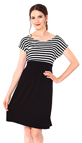Simplicity Women's Maternity Summer Baby Shower Dress Short Sleeves, Blk/White