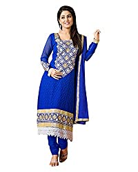 Clothing Deal Women's Faux Georgette Unstitched Dress Material (Blue)