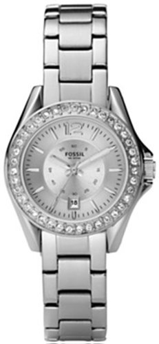 Fossil Ladies Mini Riley Watch Es2879 With Silver Coloured Dial, Stone Encrusted Topring, Stainless Steel Case And Bracelet