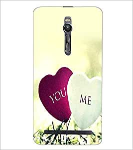 PrintDhaba Hearts D-2393 Back Case Cover for ASUS ZENFONE 2 (Multi-Coloured)