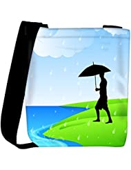 Snoogg Abstract Rainy Season Background With Silhouette Of A Man Holding Umbrella Womens Carry Around Cross Body...