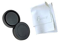RainbowImaging RCNEX Sony E-Mount NEX System Camera Body Cap and Lens Rear Cap with Fotasy Premier Lens Cleaning Cloth (Black)
