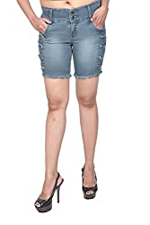 Nifty Women's Denim Shorts (1305, Grey, 32)