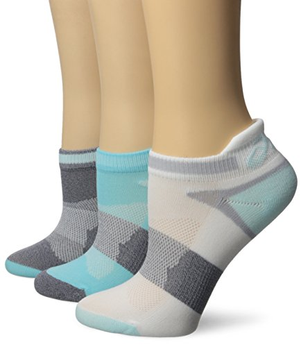 ASICS Women's Quick Lyte Cushion Single Tab Running Socks, Turquoise/Chrystal Blue, Medium