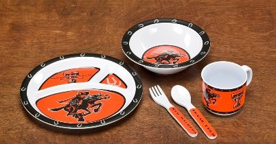 NCAA Texas Tech Red Raiders 5-Piece Kids' Dish Set