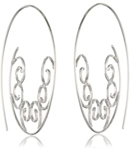 Sterling Silver Motif Threaded Hoop Earrings (1.7