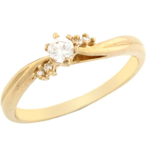 14k Yellow Gold Round CZ Promise Ring With Round Accents On Sides