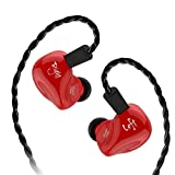 KZ ZS4 High Fidelity Headphones,KZ earbud,In Ear Earphones,Powerfull Bass In ear Monitors,Exchange Cable design and Balanced Armature Dynamic Hybrid for Sound Customization Earphone(Without Mic - Red) (Color: red no mic, Tamaño: no mic)