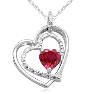 10K White Gold Double Heart Shaped Ruby with Diamonds Pendant
