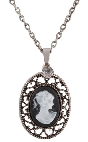 Silver Antique Style Pendant with Clear Stone 24 Inch Necklace and Stud Earring Jewelry Set
