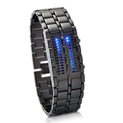 Military Style Blue LED Mens watch - Futuristic super cool mens wristwatch - ideal alien ware accessory