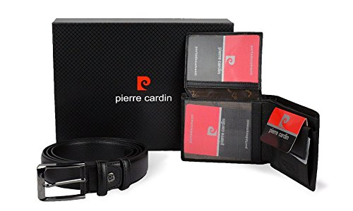 8866 Confezione regalo Pierre Cardin set di cintura e portafoglio in vera pelle. MWS
