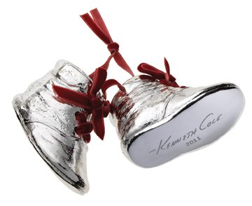 Kenneth Cole Special Edition Silver Resin Boots/Shoes Christmas Ornament for Macy's