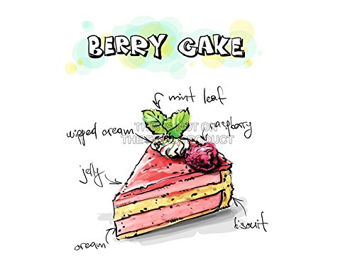 PAINTING ILLUSTRATION TASTY FOOD RECIPE BERRY CAKE ART PRINT POSTER MP5474A (Tasty Foto Art compare prices)