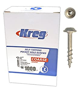 Kreg SML-C1-1000 Pocket Hole Screws 1-Inch #2 square drive Coarse Washer-Head 1000ct at Sears.com