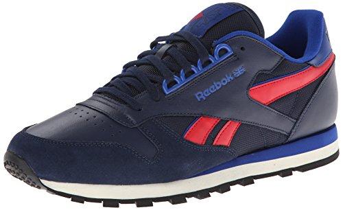 Reebok Men's CL Leather RE Fashion Sneaker,Collegiate Navy/Dark Royal/Excellent Red,10 M US
