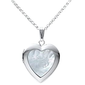 "Sterling Silver Mother-of-Pearl Heart Locket, 18"" from amazon.com"