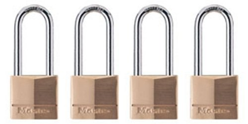 Master Lock 140QLH Keyed-Alike Wide Padlocks, Solid Brass, 1-9/16-inch, 4-Pack