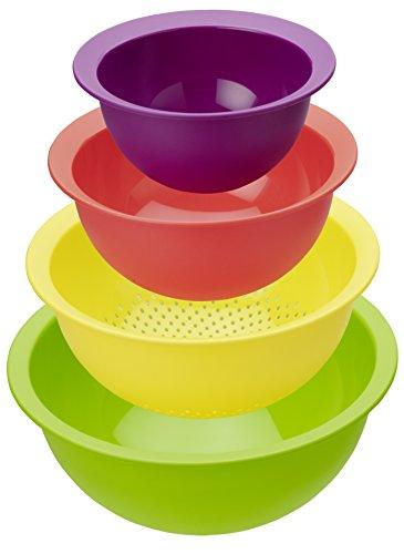 Rotho - 1161799999, Set di 3 ciotole + 1 Scolapasta, in plastica, Multicolore, prodotto svizzero
