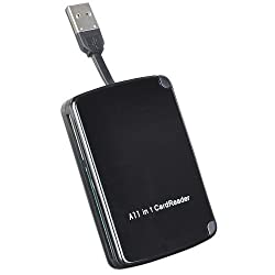 Reo 10-in-1 Portable USB 2.0 Card Reader with Built-In Storage for 9 Memory Cards(multi card reader,memory card reader,supports : SD, microSD,CF,MS,MS Duo,xD,M2,SDHC,MMC,Mini SD Cards)