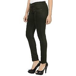 Flyjohn Army Green Women's Skinny Cotton Lycra Trousers