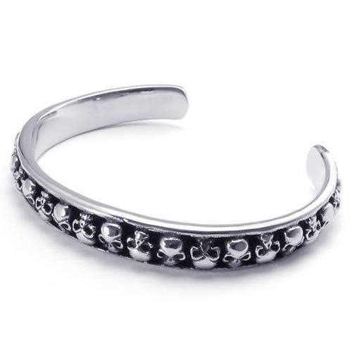 Konov Jewellery Stainless Steel Skull Bangle Cuff Bracelet, Colour Black Silver (with Gift Bag)