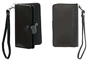 Jo Jo A9 G12 Leather Carry Case Cover Pouch Wallet Case For BLU Dash 5.0 Black