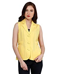 Oxolloxo Women Yellow Sleeveless Blazer