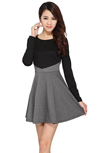 Beautifulmall Women's Fall Long Sleeves Slim Knit Cotton Pleated Mini Dress 22L