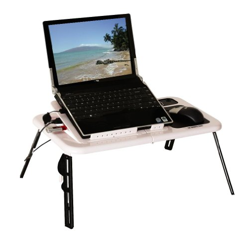 Sharper Image USB Foldable Cooling Laptop table w/ Two Fans and 3-Port USB Hub