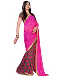 101cart Classy Magenta Colored Floral Printed Faux Georgette Saree