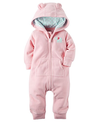 Carter's Baby Girls Hooded Fleece Jumpsuit - Pink (24 Months)